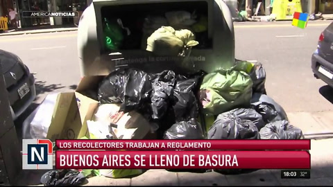 Los recolectores trabajan a reglamento y la Buenos Aires está llena de basura