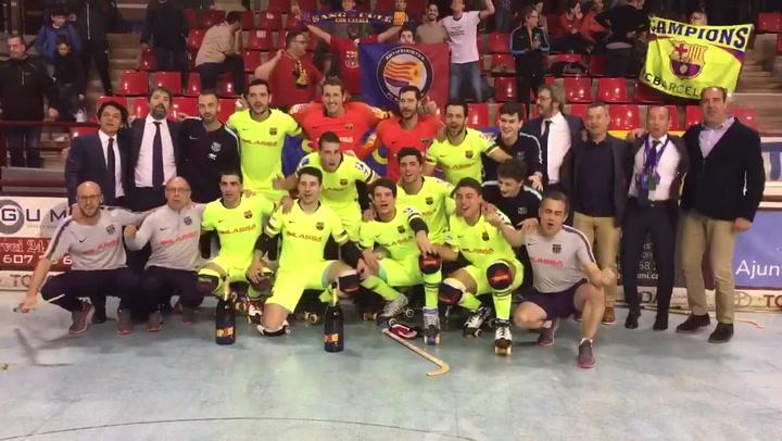 El Barça de hockey celebra su trigésimo título de Liga tras ganar en Igualada
