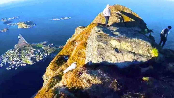 Turist løp langs stupet på forbudt Lofoten-fjell