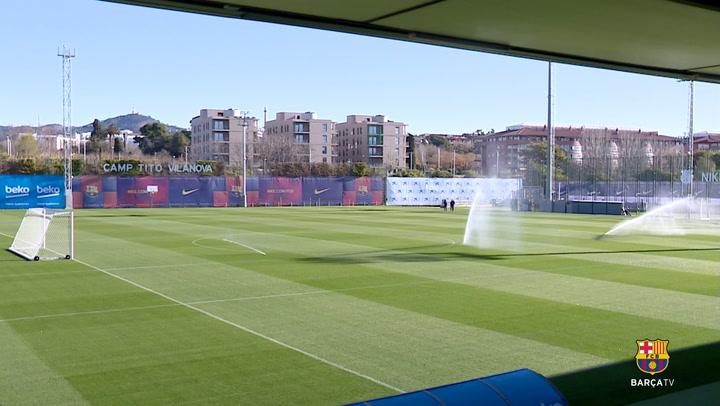 El entrenamiento del Barça, previo al partido contra el Eibar
