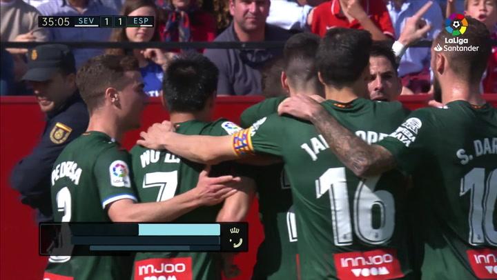 Gol de Embarba (1-1) en el Sevilla 2-2 Espanyol