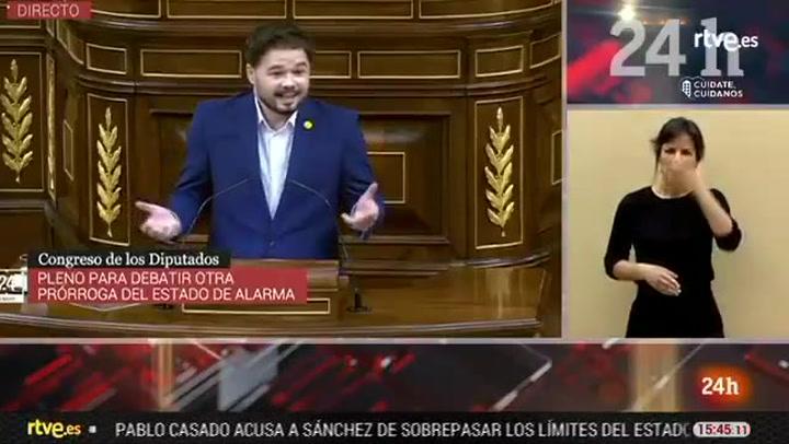 Rufián cita a Jorge Javier Vázquez en el Congreso