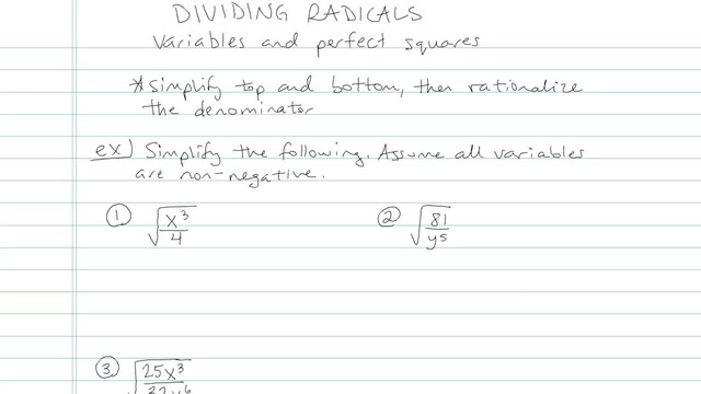 Dividing Radicals and Rationalizing the Denominator - Problem 6