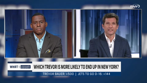 What are the Odds on which Trevor is more likely to be in NY next season: Bauer or Lawrence?