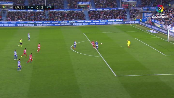 LaLiga: Alavés - Atlético Madrid. Griezmann chuta al poste en el minuto 69
