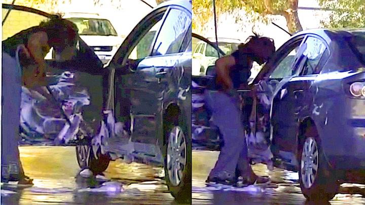 Hun tok skikkelig vårrengjøring i bilvasken