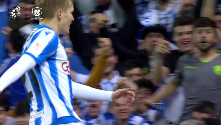 Copa del Rey: Real Sociedad-Mirandés.Gol de Odegaard 2-1
