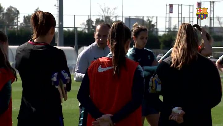 Rueda de prensa y entrenamiento del Barça femenino antes de disputar los cuartos de la Champions