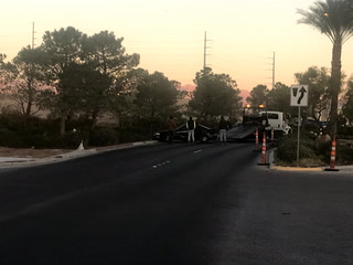 No serious injuries after car hits tree in south Las Vegas