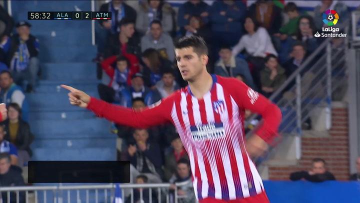 LaLiga: Alavés - Atlético Madrid. Gol de Álvaro Morata en el minuto 59 (0-3)