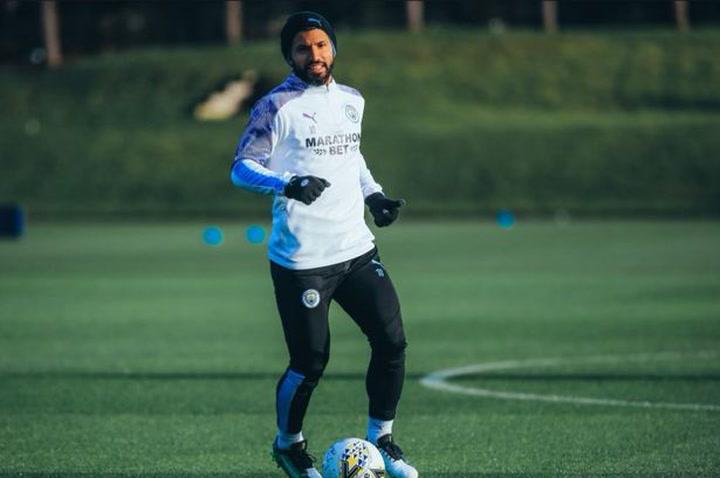 Sergio Kun Agüero se entrena a las órdenes de Pep Guardiola