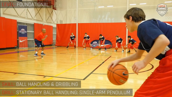 Stationary Ball Handling - Single Arm Pendulum Dribble