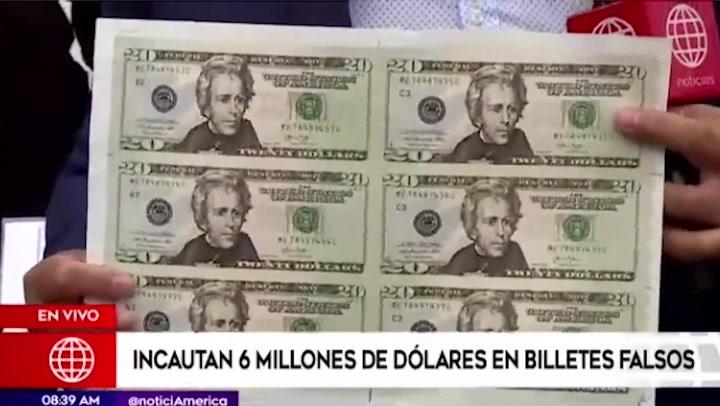 Policía incauta más de 6 millones de dólares falsos que iban a ser enviados al extranjero