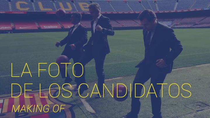 El 'Making of' de la foto de los tres candidatos Toni Freixa, Joan Laporta y Víctor Font