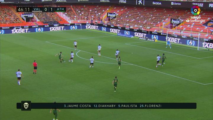 Gol de Raúl García (0-2) en el Valencia 0-2 Athletic