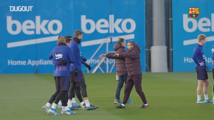 Leo Messi and Luis Suárez return to FC Barcelona training
