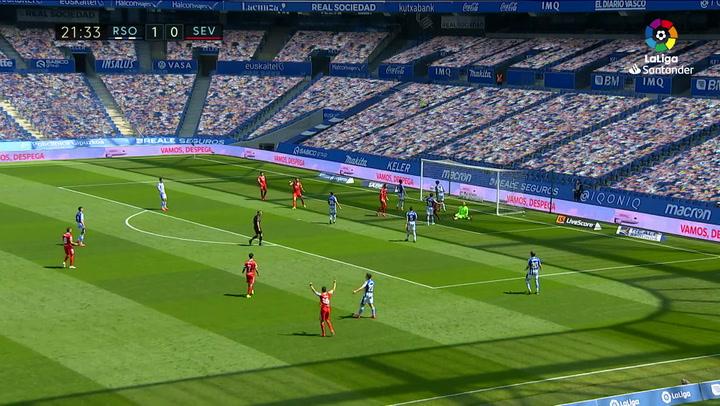 Gol de Fernando (1-1) en el Real Sociedad 1-2 Sevilla