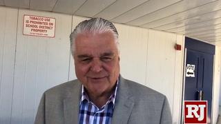 Steve Sisolak speaks after casting his vote