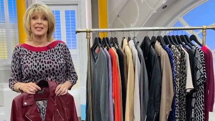 Ruth Langsford looked gorgeous in her black skinny trousers to reveal happy news about her QVC range! wows in skinny trousers to reveal exciting news