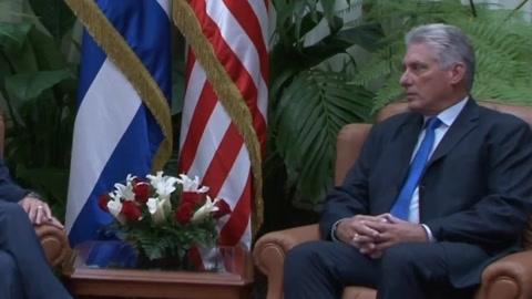 Presidente de Cuba recibe al jefe de RREE de Senado de EEUU