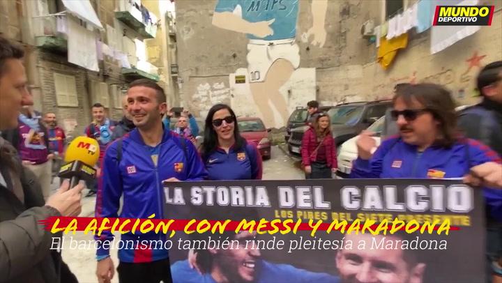 La afición del Barça también rinde pleitesía a Maradona