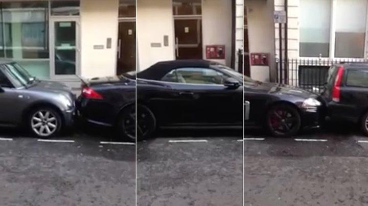Lykke til med å rygge ut den Jaguaren der...