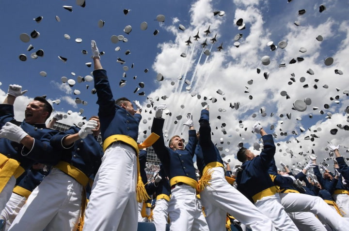 USAFA graduation Thunderbirds flyover and hat toss