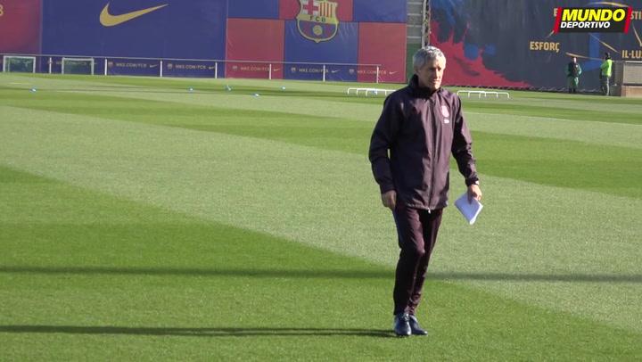 Entrenamiento del Barça en la previa del partido ante el Granada