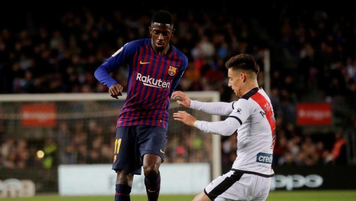 LaLiga: Barça-Rayo Vallecano. Dembélé corre por una pelota y se lesiona