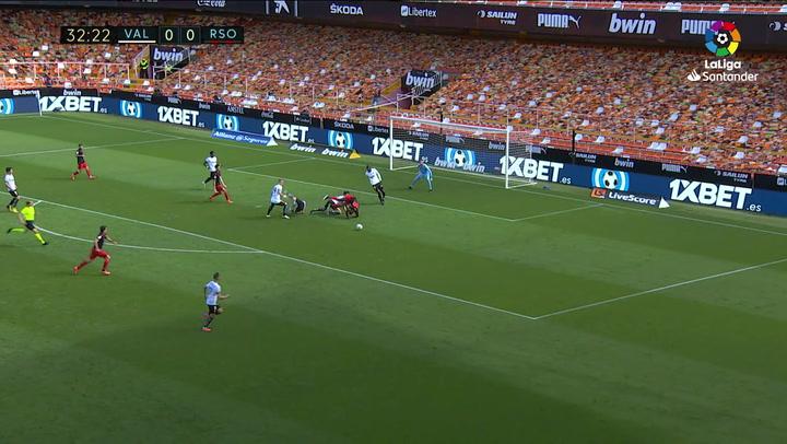 Gol de Ander Guevara (0-1) en el Valencia 2-2 Real Sociedad