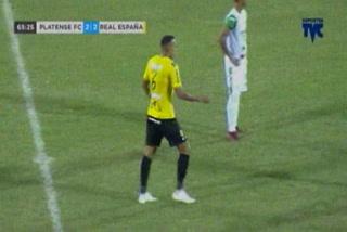 Devron García anota el empate 2 - 2 de Real España ante Platense