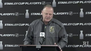 Coach Gallant speaks after practice, as the Golden Knights prep for Game 5