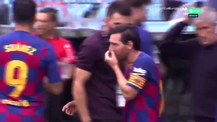 El mosqueo de Messi que pagó Sarabia en Balaídos