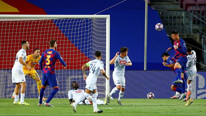 Champions League Barça-Nápoles. Gol de Lenglet (1-0)