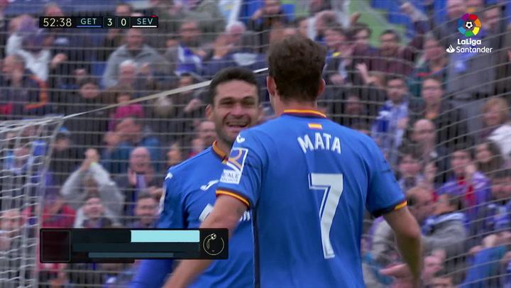 LaLiga: Getafe-Sevilla. Gol (3-0) de Jorge Molina (min 53)