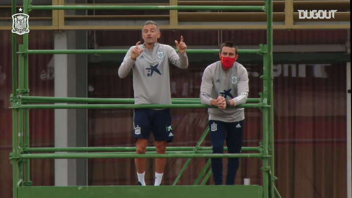 Luis Enrique returns to his scaffolding platform