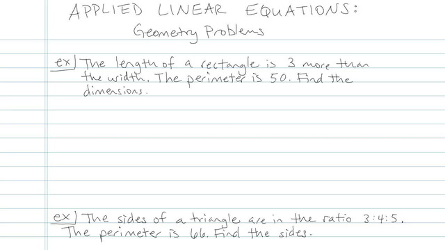 Applied Linear Equations: Geometry Problem - Problem 2