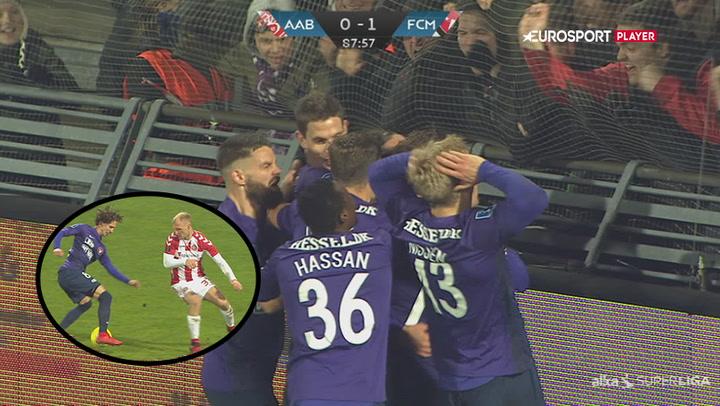 Highlights: Sen Wikheim-kasse sikrer Midtjylland sejren over AaB!