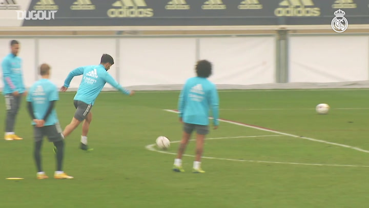 Marcelo, Nacho and Odegaard take part in shooting practice