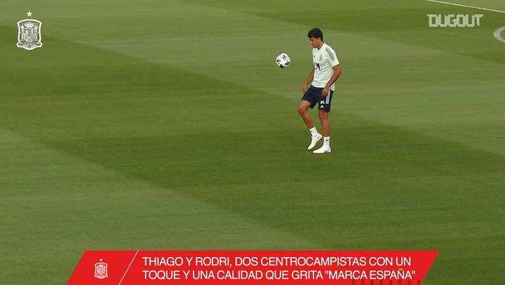 Thiago and Rodri's exhibition in training