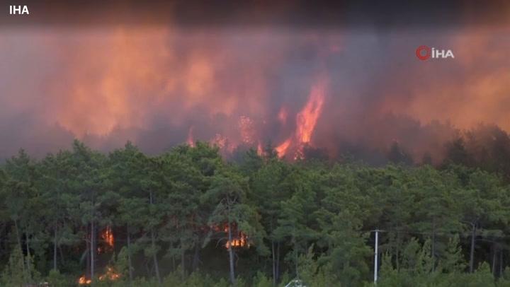 Turkish firefighters tackle flames engulfing forest after heatwave
