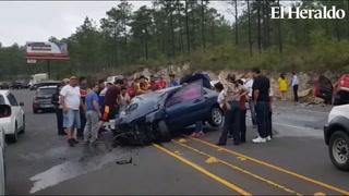 Conductores brindan auxilio a víctimas de colisión en Amarateca