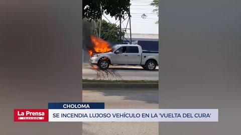 Se incendia lujoso vehículo en la 'Vuelta del Cura'