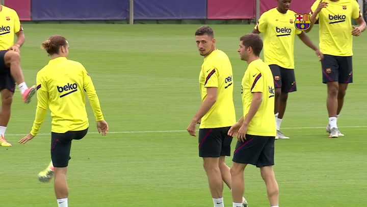 Entrenamiento del Barça previo al partido contra el Espanyol