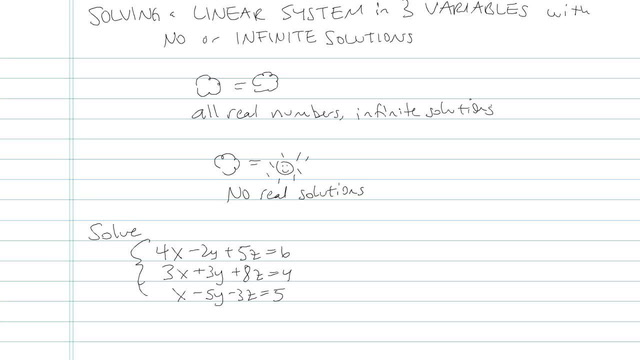 Solving a Linear System in Three Variables with no or Infinite Solutions - Problem 3