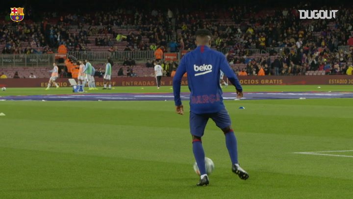 Leo Messi and Ansu Fati warming up together before playing against Celta Vigo