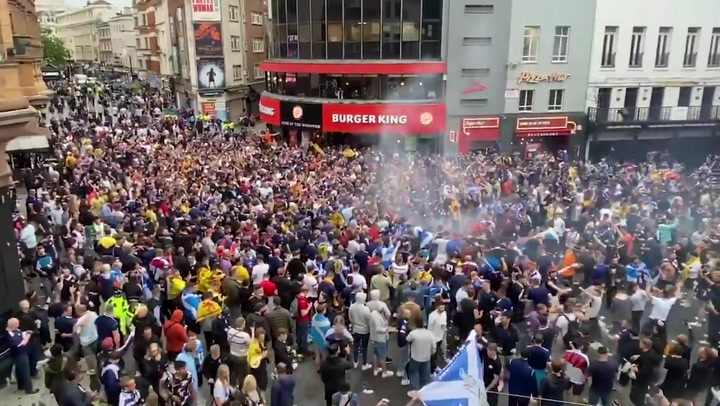 Huge crowd of Scotland fans take over Leicester Square ahead of Euro 2020 match