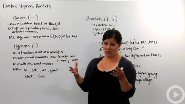 Dashes, Hyphens and Brackets
