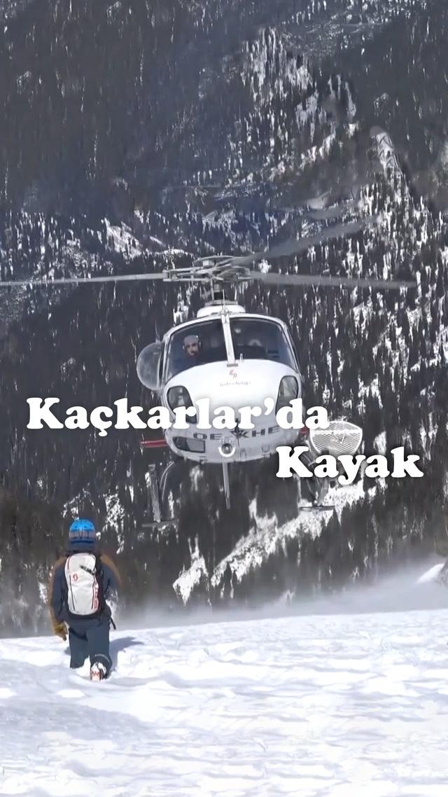Kayağın uçmuş hali, helikopterli kayak