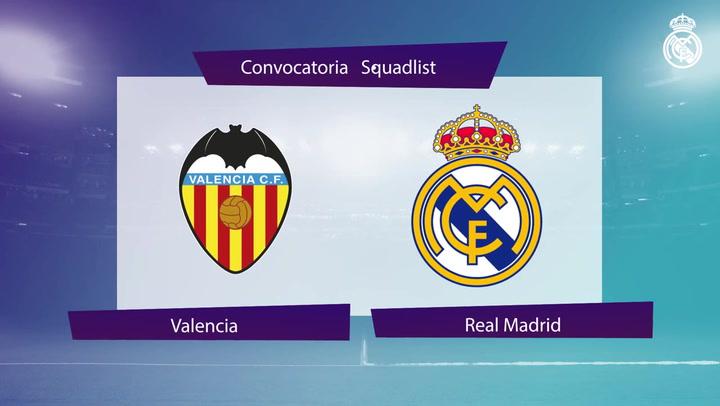 Los 20 convocados del Real Madrid para el encuentro ante el Valencia